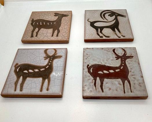 Midcentury Primitive Animal Tile Coasters