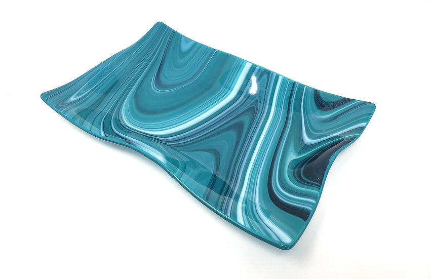 Teal, White and Mica Wave Rectangular Dish