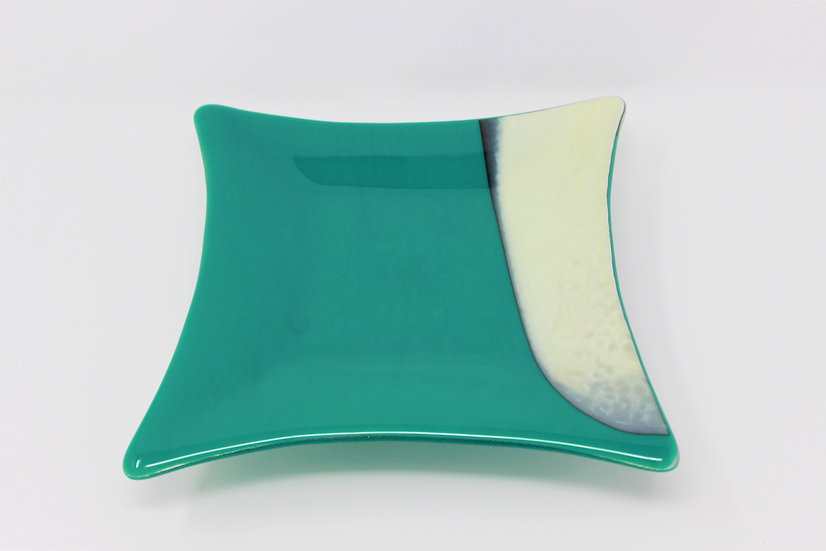Vanilla Teal Flared Serving Plate - Style 1