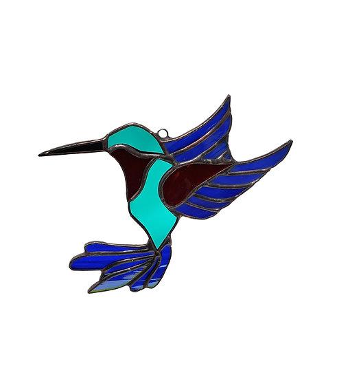 Iridized Stained Glass Hummingbird