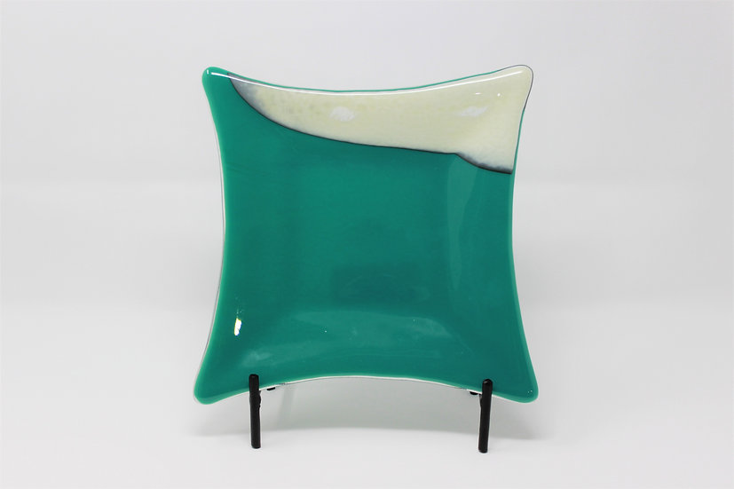 Vanilla Teal Flared Serving Plate - Style 2