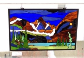 Custom Mountain Stained Glass Creation