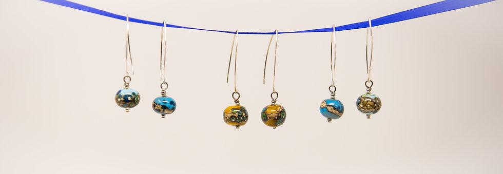 Earrings: Glass Hoop Sterling Sliver
