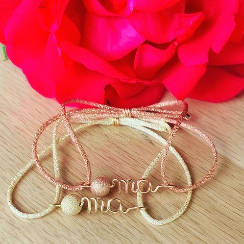 """Bracelets """"O mà"""" diamantée doré ou rose"""