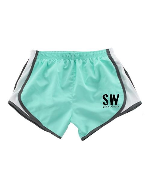Mint / Black  Boxercraft - Women's Velocity Running Shorts