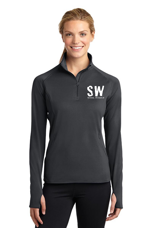 Charcoal Sport Tek Ladies Sport Wick Stretch 1/4 zip pullover