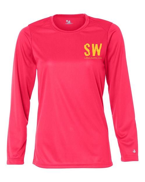 Lakenheath Hot Coral Badger - B-Core Women's Long Sleeve T-Shirt