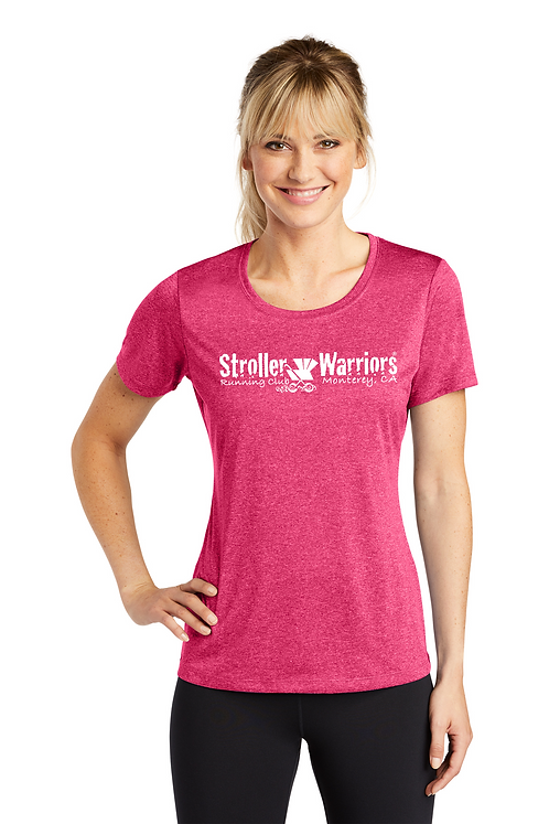 Pink raspberry heather Sport-Tek® Ladies Heather Contender™ Scoop Neck Tee