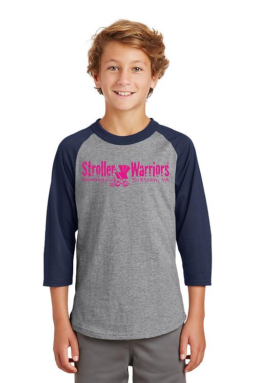Navy & Grey Sport-Tek® Youth Colorblock Raglan Jersey
