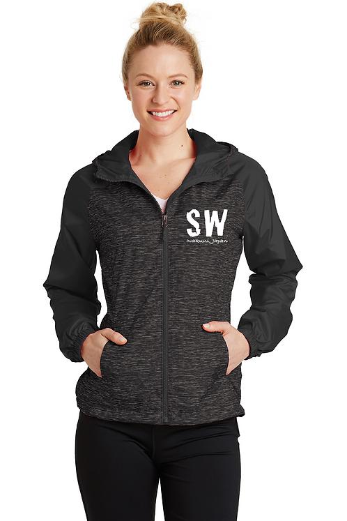 Black  Sport-Tek® Ladies Heather Colorblock Raglan Hooded Wind J