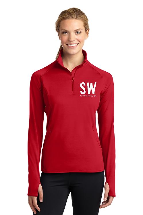 True Red  Sport Tek Ladies Sport Wick Stretch 1/4 zip pullover