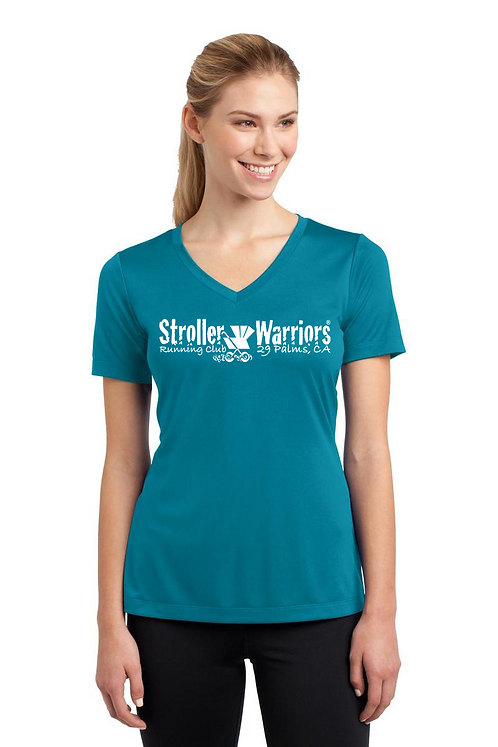 Tropic Blue Sport-Tek® Ladies PosiCharge® Competitor™ V-Neck Tee