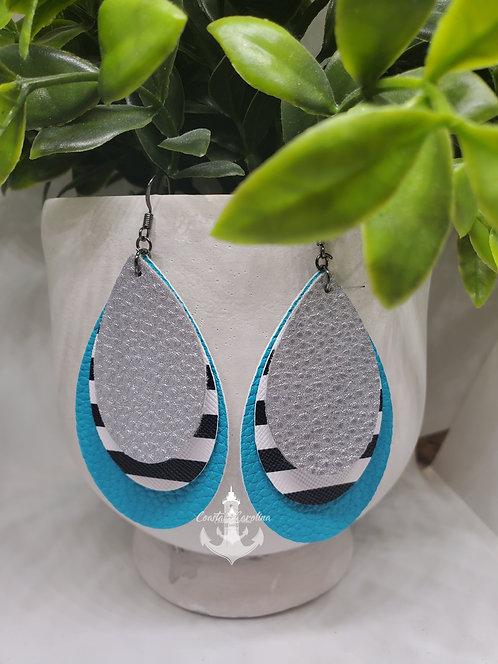 Triple layer teardrop faux leather earring