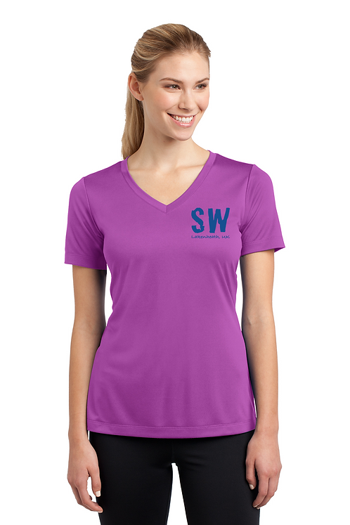 Pink Orchid Ladies Sport Tek PosiCharge Competitor Tee V Neck