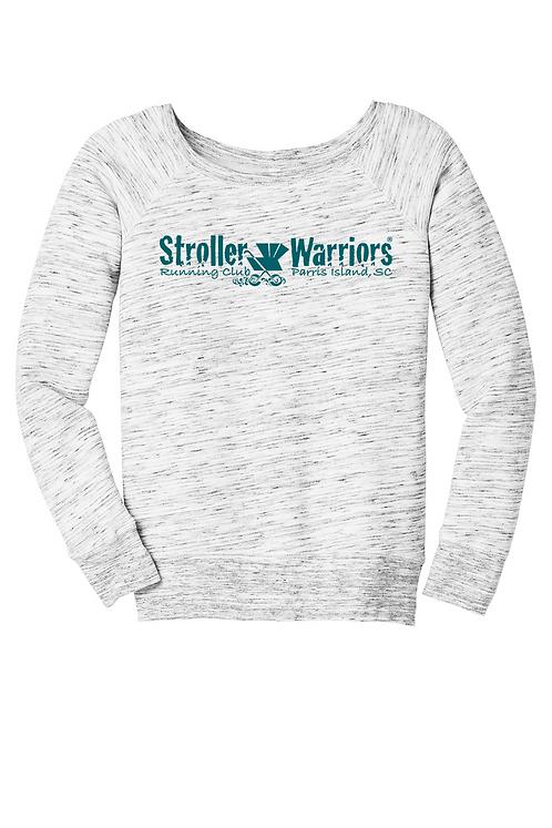 Light gray marble Bella Women's Sponge Fleece Wide Neck Sweatshirt