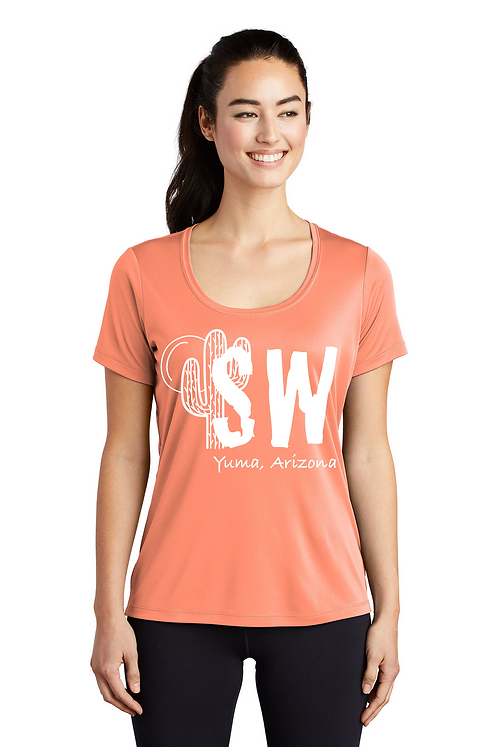 Soft coral Sport-Tek ® Ladies Posi-UV™ Pro Scoop Neck Tee