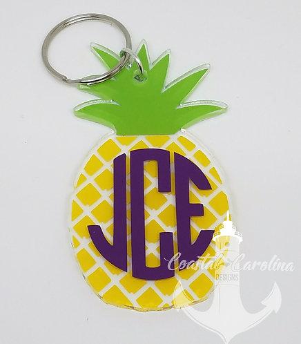 Pineapple Keychain, Monogram