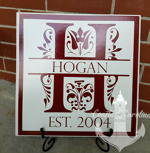 12x12 Ceramic Tile Name Plate,Wedding Gift, Anniversary Gift, Family name