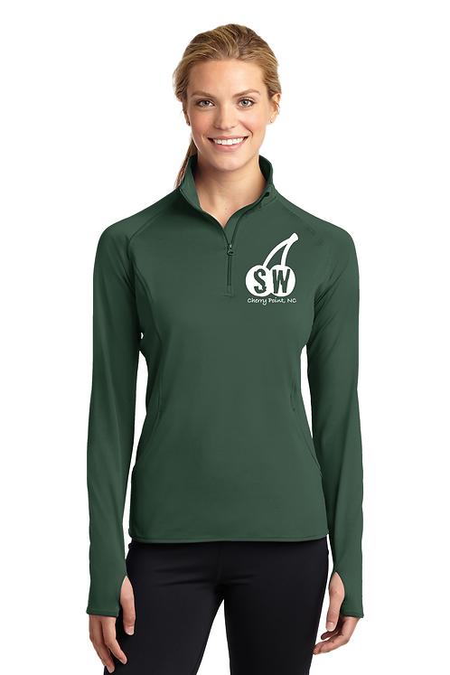 Forest Green Sport Tek Ladies Sport Wick Stretch 1/4 zip pullover