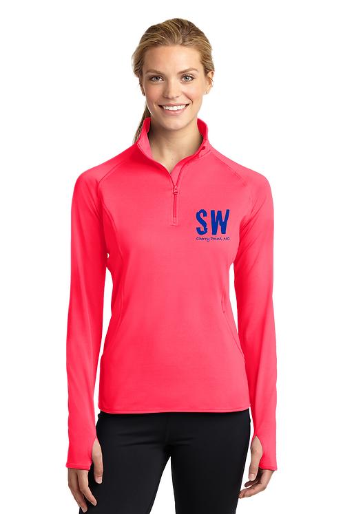 Hot Coral Sport Tek Ladies Sport Wick Stretch 1/4 zip pullover