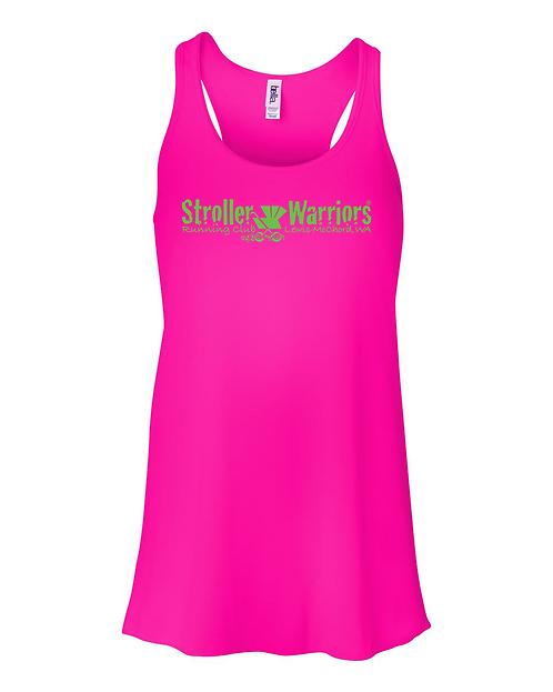 Neon pink Bella & Canvas Flowy Racerback Tank