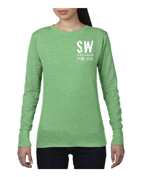 Heather Green Anvil® Ladies French Terry Crewneck Sweatshirt