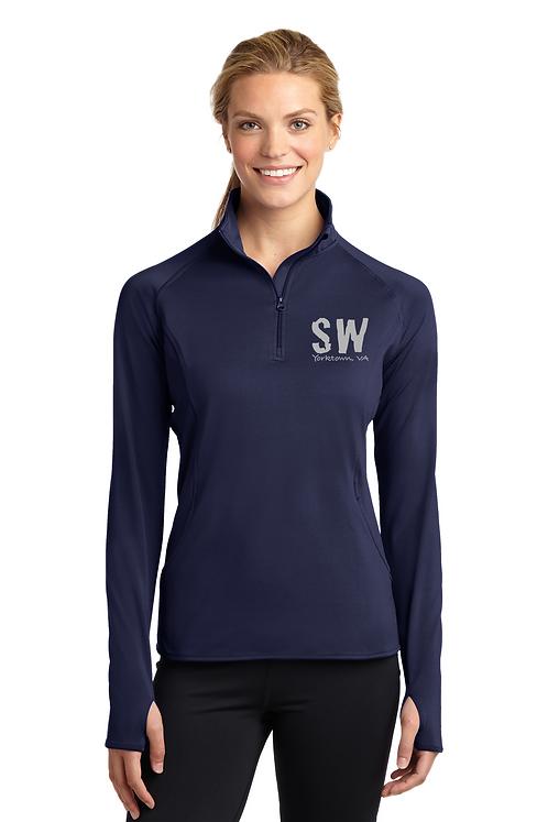 True Navy Sport Tek Ladies Sport Wick Stretch 1/4 zip pullover