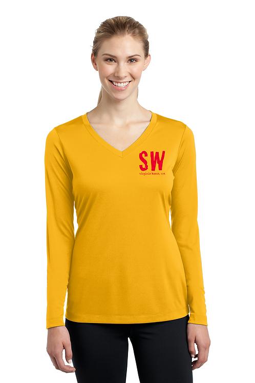 Gold Sport Tek Ladies Long Sleeve PosiCharge Competitor V-Neck