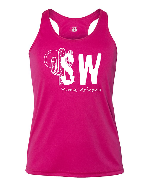 Hot pink Badger - B-Core Girls' Racerback Tank Top