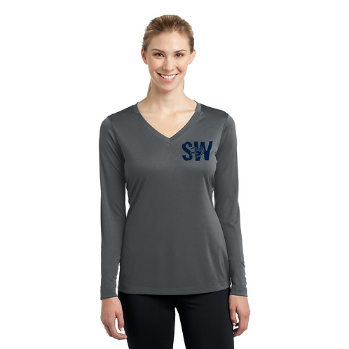 Iron grey Sport Tek Ladies Long Sleeve PosiCharge Competitor V
