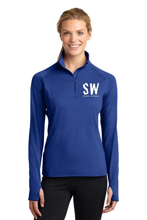 True Royal Sport Tek Ladies Sport Wick Stretch 1/4 zip pullover