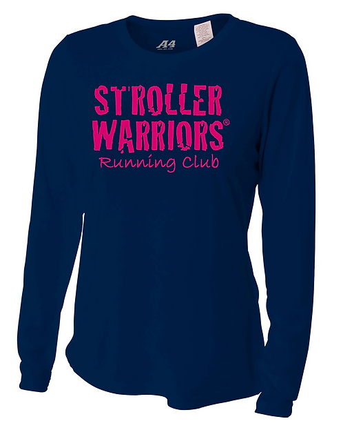 Navy Blue A4 Ladies' Long Sleeve Cooling Performance Crew Shirt