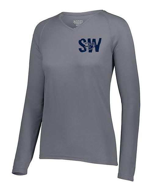 Graphite Augusta Ladies Attain Wicking Long sleeve shirt
