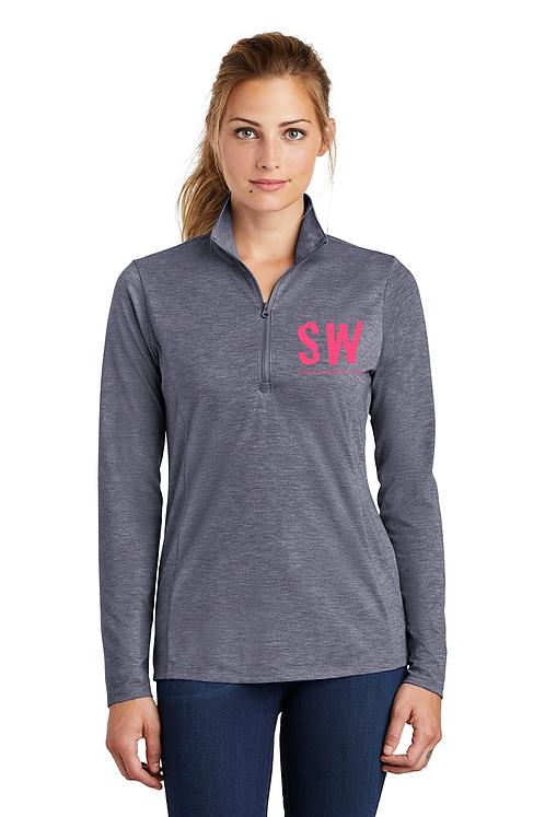True Navy Heather Sport-Tek ® Ladies PosiCharge ® Tri-Blend Wicking 1/4-Zip Pull