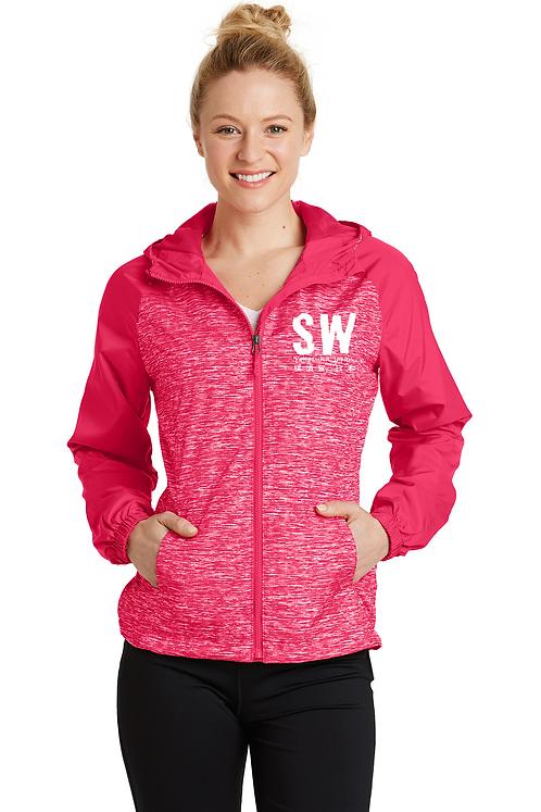 Pink raspberry Sport-Tek® Ladies Heather Colorblock Raglan Hooded Wind J