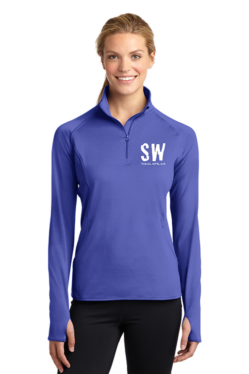 Iris Purple Sport Tek Ladies Sport Wick Stretch 1/4 zip pullover