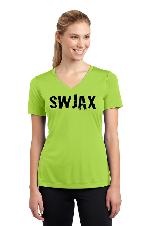 Lime Shock Ladies Sport Tek PosiCharge Competitor Tee V Neck