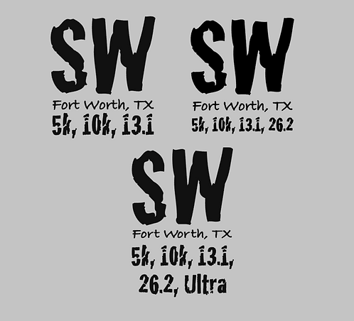SW Fort Worth Distances Decal - Two sizes available -Small $6 Large $10