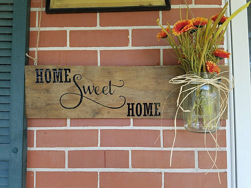 Home Sweet Home Sign with Jar