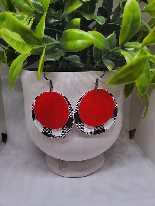 Faux leather round earrings