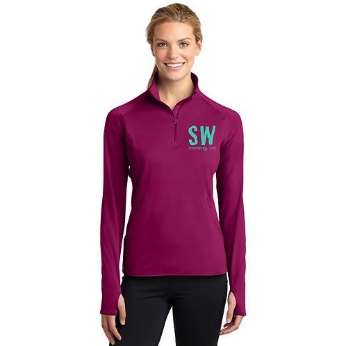 Pink Rush Sport Tek Ladies Sport Wick Stretch 1/4 zip pullover