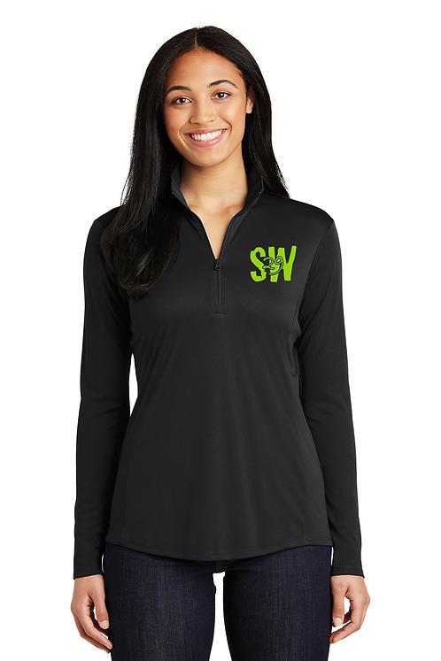 Black Sport-Tek® Ladies PosiCharge® Competitor™ 1/4-Zip Pullover