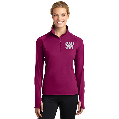 Sport Tek Ladies Sport Wick Stretch 1/4 zip pullover