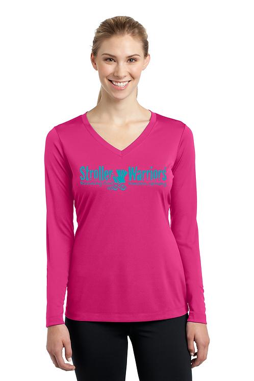 Pink raspberry C25K Sport Tek Ladies Long Sleeve PosiCharge Competitor V-Neck