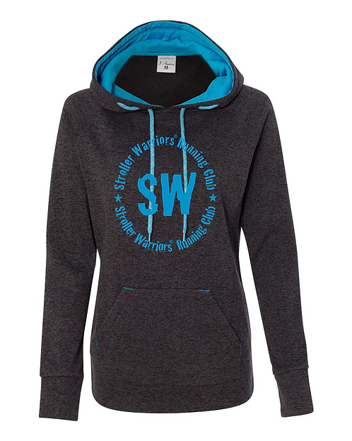 Onyx fleck Electric Blue Black J. America - Women's Cosmic Fleece Hooded