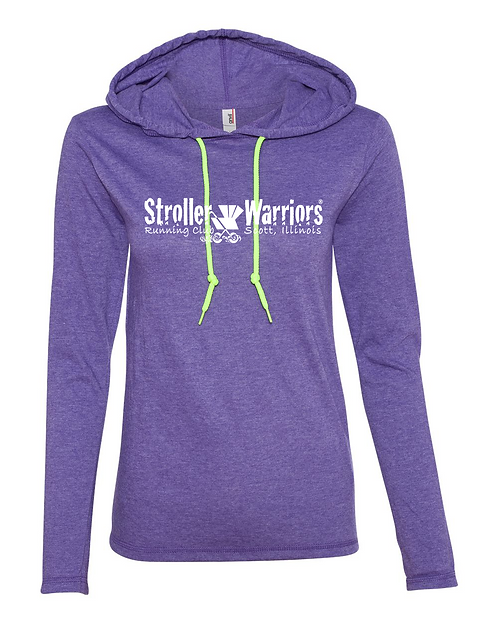 Heather Purple Anvil - Women's Lightweight Hooded Long Sleeve T-Shirt