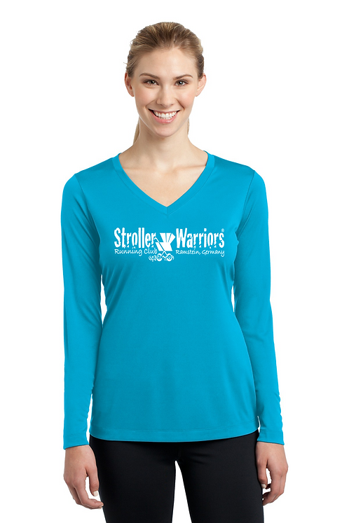 Atomic Blue Sport Tek Ladies Long Sleeve PosiCharge Competitor V-Neck