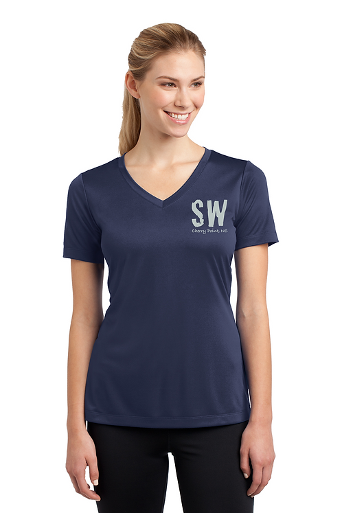 True Navy C25K  Ladies Sport Tek PosiCharge Competitor Tee V Neck