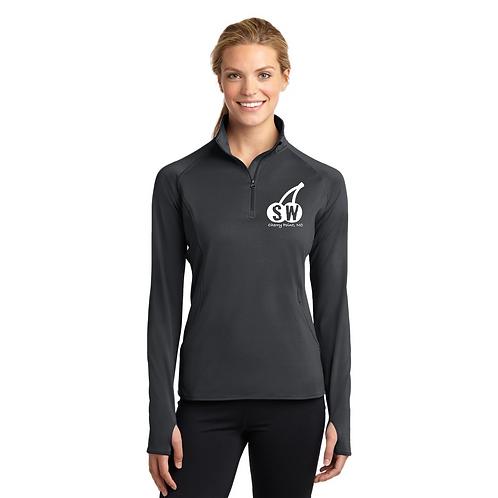 Charcoal Sport Tek Ladies Sport Wick Stretch 1/4 zip pullover