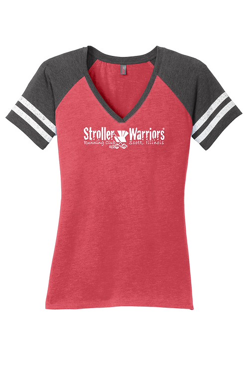 Heathered Red District Made® Ladies Game V-Neck Tee